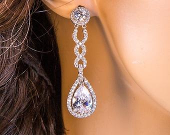 Wedding Earrings Zirconia Earrings Wedding Jewelry Bridesmaid Earrings Bridesmaid Accessories Dangling Teardrop Earrings stl29