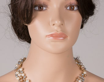 Beautiful Pearl Jewelry Necklace SET WITH  Pearl Earrings Bridal Jewelry Pearl Wedding Necklace Bridesmaid Necklace Set n5
