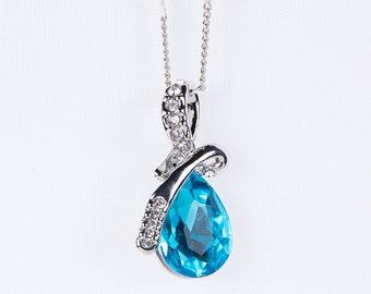 Blue Teardrop Necklace,Teardrop Pendant Wedding Jewelry, Prom, Jewelry Beautiful Blue Zircon Stone Pendant Bridesmaid n42