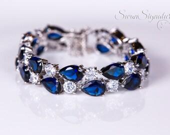 Sapphire Blue Crystal bracelet, Bridal bracelet, Rhinestone Bracelet,Wedding bracelet, Bridal accessories, Crystal Bracelet b21