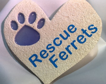 Rescue Ferrets Paw Print On My Heart Decoration