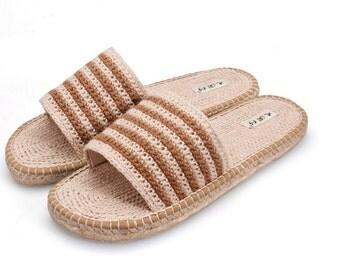 Summer new desert line handmade hemp shoes Slippers slippers a word Couple household slippers Against the stench,