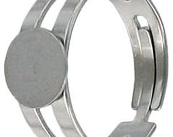 3-12pcs--Finger ring expandable, with pad 9mm, size 8 and up, stainless steel (B6-4)
