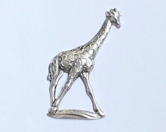 1pcs--Girafe, Stampimg, Antique Silver, 52x32mm (B23-10)