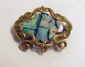 Art Nouveau Bolder Opal, 14 kt Gold Brooch, with Demantoid Green Garnet ~ Circa 1900