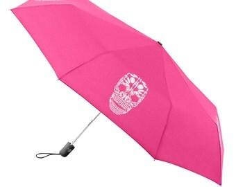 Umbrella Compact Folding Auto Open Close Skull Pink - Under NY Sky