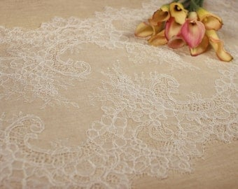 """12 3/4"""" Ivory Re-Embroidered Scalloped Gallon Alencon Lace - Floral Lace Perfect for Weddings, Bridal, Table Runner  - By The Yard"""