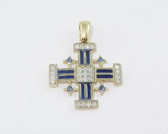 14K  Yellow Gold, Jerusalem Cross, Diamond, Cold Blue Enamel,Genuine Blue Saphir,Pendant