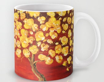 Tree Mug, Yellow and Red Mug, Tea Mug, Coffee Cup, Art Mug, Ceramic Coffee Mug, Unique Mugs, Floral Mug, Housewarming Gift, Gift for Her