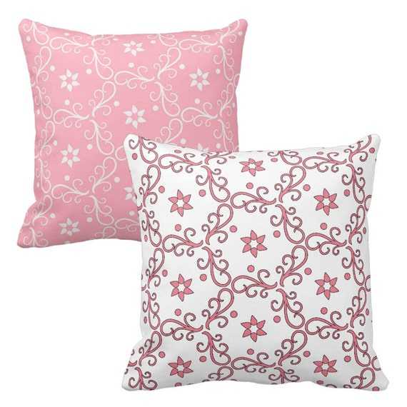 Pink Throw Pillows For Couch : Pink White Throw Pillows, Pillow Covers, Decorative Pillows, Cottage Chic Pillows, Cushions ...