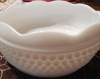 "Westmoreland Milk Glass 7"" Hobnail Bowl-Vintage Westmoreland Bowl, Table Top Bowl, Serving Bowl, Fruit Bowl, Milk Glass Bowl"