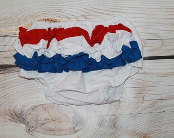 45% off-Fourth of July Bloomers, Red White and Blue Bloomers, July 4th Bloomer, Patriotic Ruffle Butt Diaper Cover