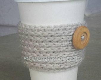 Cup Cozy with Wooden Button Coffee Cozy Tea Cozy Crochet