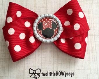 Minnie Mouse Bottle Cap Hair Bow