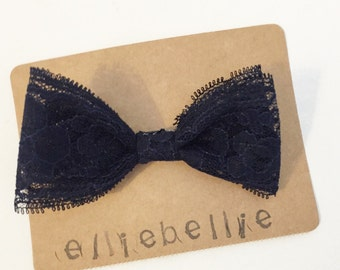 Navy lace bow clip