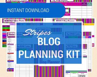 Blog Planner Kit - 11 Printable PDF Blog Planning and Management Sheets Stripey Design - Instant Download
