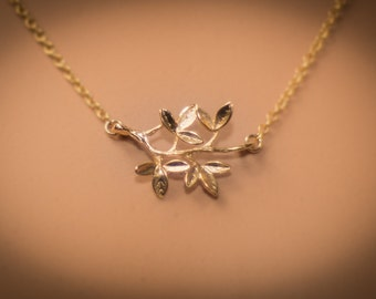 Gold leaf pendant, leaf necklace,  gold leaf pendant,  gold filled necklace,