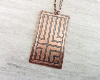 Etched Copper Pendant, Antiqued Copper Necklace, Etched Copper Jewelry, Oxidized Copper Pendant Necklace, Abstract, Cross Pattern