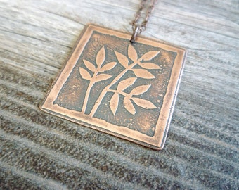 Etched Copper Pendant, Antiqued Copper Necklace, Etched Copper Jewelry, Oxidized Copper Pendant Necklace, Leaves, Nature