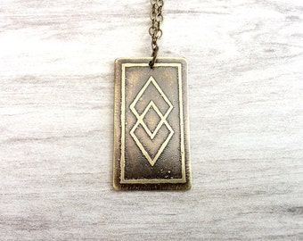 Etched Brass Pendant, Antiqued Brass Necklace, Etched Brass Jewelry, Oxidized Brass Pendant Necklace, Abstact, Natural