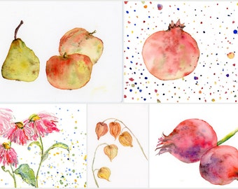 5 fruit POSTCARDS from wonderful watercolour illustrations, Echinacea, Pear and apples, pomegranate, wall decoration, kids