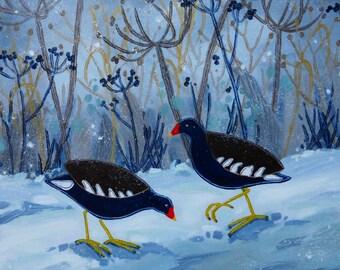 Original acrylic bird painting  -  Moorhens and snow