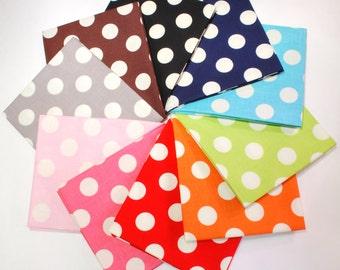 Le Creme Basics Medium Dot Fat Quarter Bundle by Riley Blake 10 FQs 100% Cotton Precut Fabric