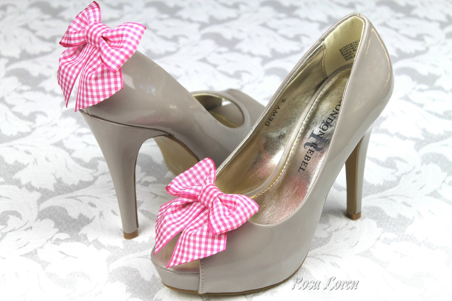 pink gingham bow shoe pink bow clip shoes bright