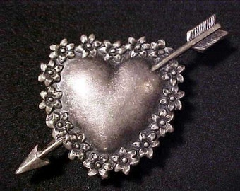Heart with Cupid's arrow one metal button cover