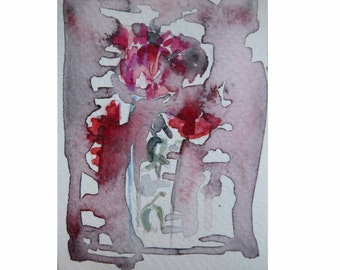 Original art Aceo, Artist trading card, watercolor painting, ACEO, watercolor painting, abstract poppies, flower painting, modern art, ATC