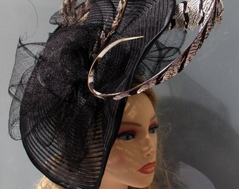 Black crin headdress with sinamay bows and pheasant Lady Amherst feathers