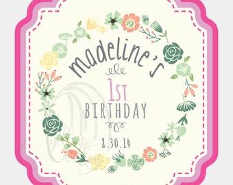 24 Adhesive Labels - Floral Print//Baby Girl's 1st Birthday//Waterproof Vinyl Print Material//Personalized