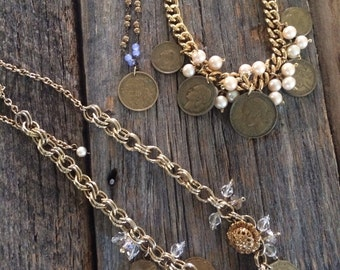Gold Bits and Baubles Necklace with Vintage European Charms