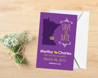 Save the Date, State Save the Date Postcard, Destination Wedding, Wedding Invitations, Minnesota, Stationery, State Map