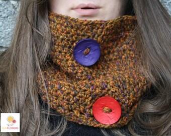 Mottled wool handmade crochet neckwarmer, gift idea
