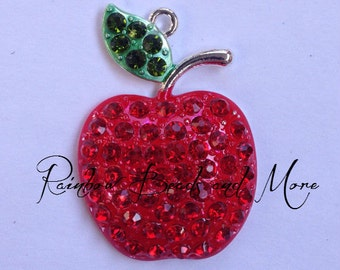 48mm Red Apple Rhinestone Pendant Chunky Gumball Necklace