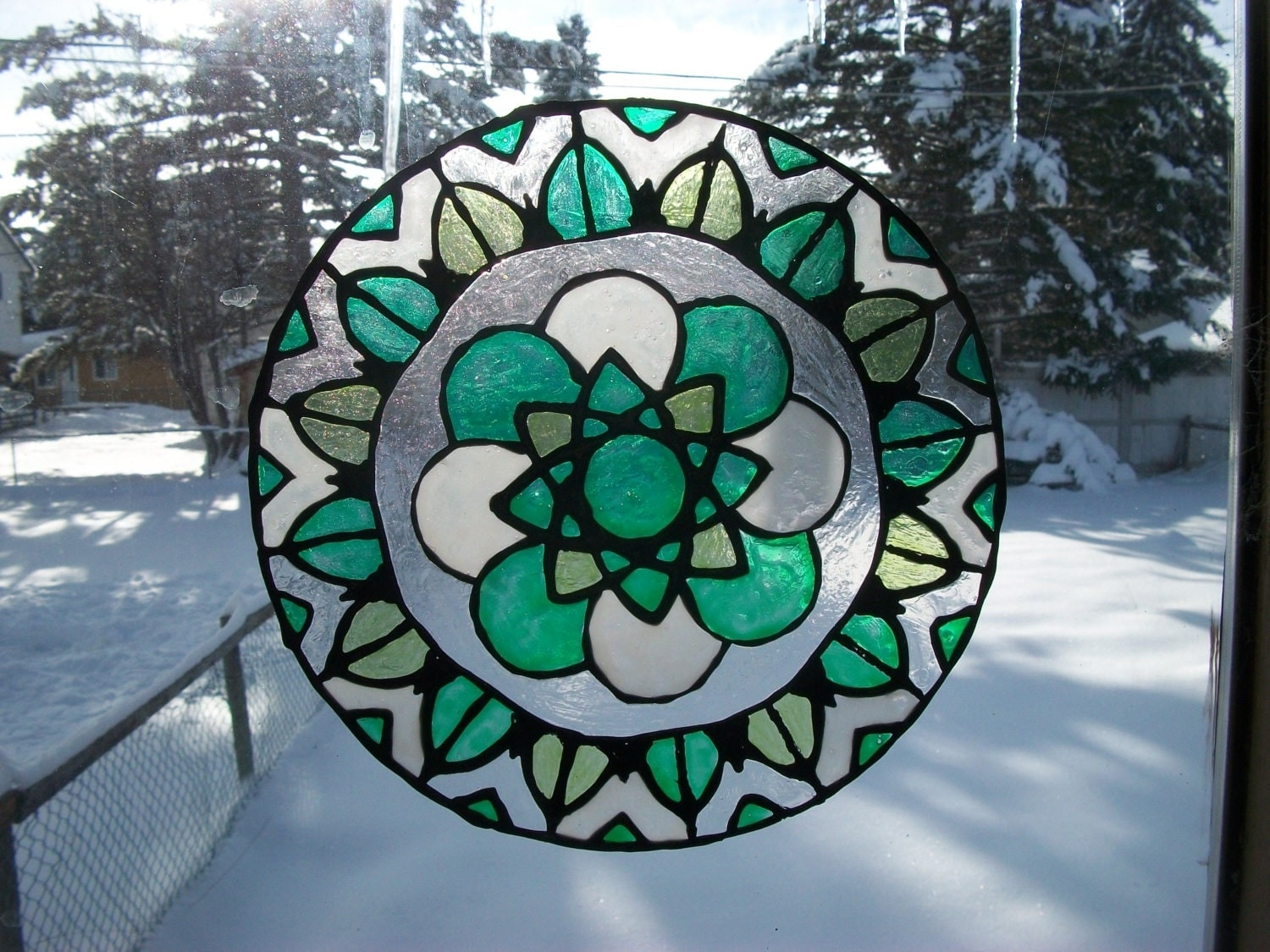 mandala window cling suncatcher stained glass painting to. Black Bedroom Furniture Sets. Home Design Ideas
