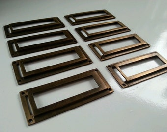 "8 Brass Card File Label Holders Antique Style 2 7/8"" wide #Z45"
