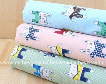 Handmade sewing fabric supply/baby fabric/cotton fabtic/cute bunny/rabit/blue fabric/Green fabric/Pink Fabric/size:150*50CM