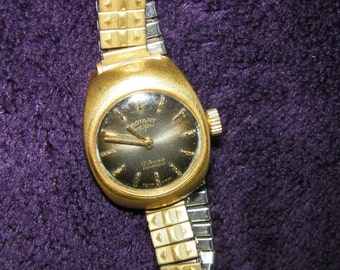 Vintage Rotary ladies wrist watch, Gold plated, elastic strap, Swiss Made.