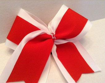White and Red Cheer Bow