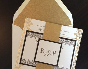 Gold Foil Letterpress Wedding Invitation Suite