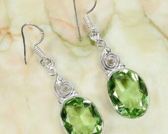 Quartz Peridot 925 Sterling Silver Overlay Earrings 46mm - Gemstones, gemstone,jewelry