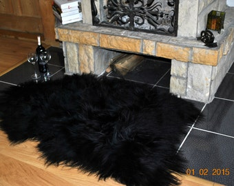 Sheepskin. Giant XXL Black Icelandic Sheepskin Rug. Super Soft Silky Long Wool.