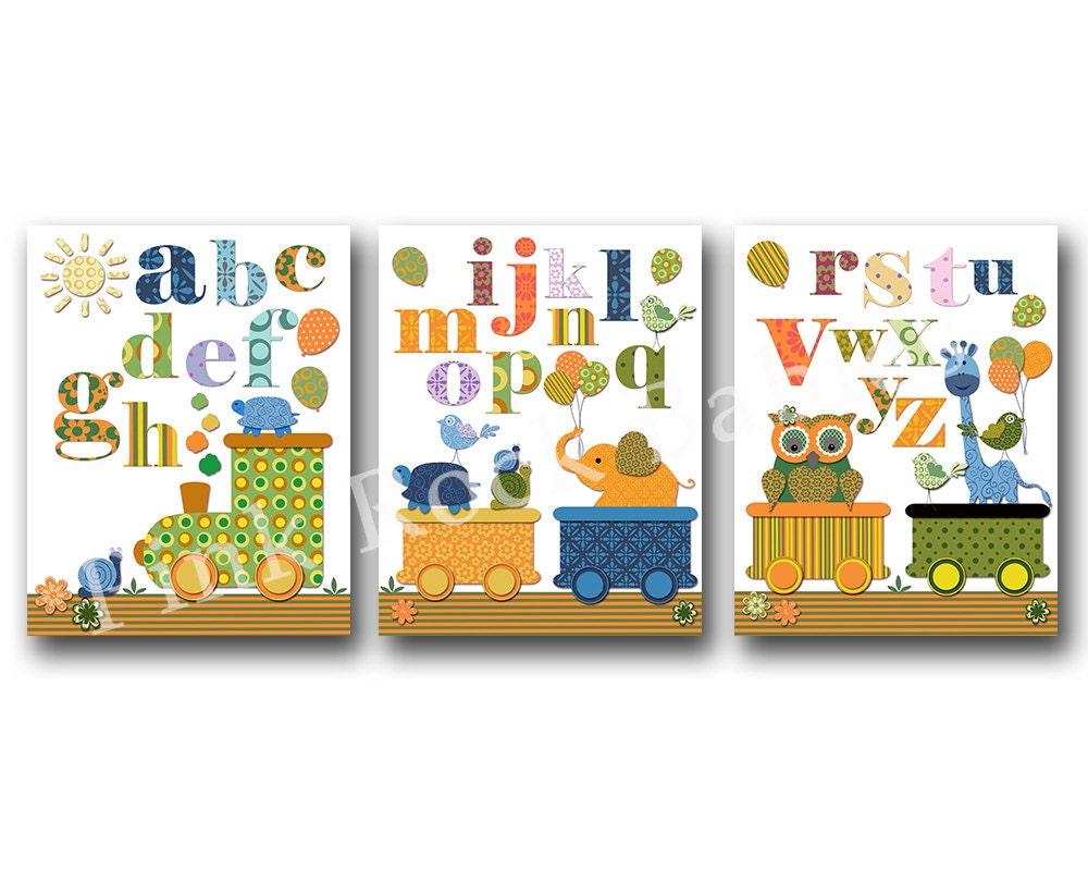 Nursery alphabet poster abc print decoration for baby room for Alphabet decoration