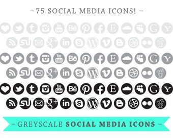 Social Media Icons - Circles -  VECTOR Files - for Blogs & Websites - greys - round