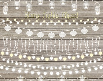 "String lights clip art: ""STRING LIGHTS CLIPART"" with wedding lights, party lights, patio lights, lights clipart for wedding invitations"