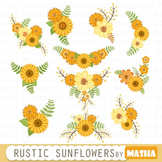 Floral Bouquet Clipart SUNFLOWER CLIPART Flowers Wedding Invitation For Scrapbooking Card Making Invitations From MashaStudio