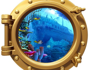 Porthole Wall Fabric Color Decal Reef With Pirate Ship Wreck 12 In Removable Reusable