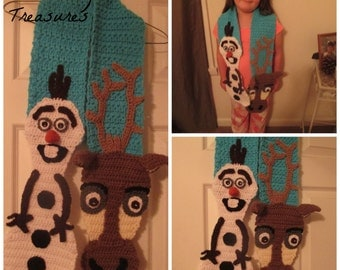 Crochet Inspired Frozen Scarf--Costume--Dress up--Winter